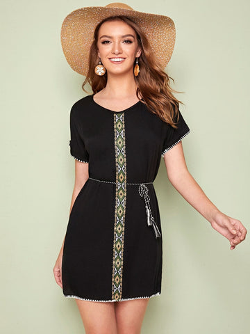 Black Round Neck Tribal Tape Panel Belted Dress