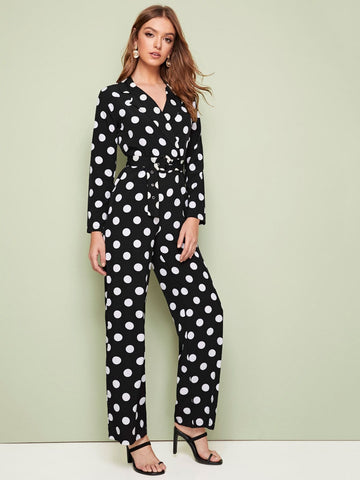 Black Straight Leg Polka Dot Notched Neck Belted Jumpsuit