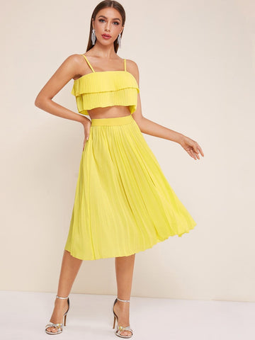 Pastel Yellow Spaghetti Strap Sleeveless Pleated Tired Layer Pleated Cami Top With Skirt