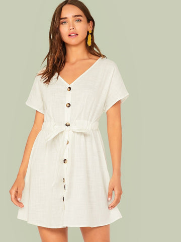 White Short Sleeve V-neck Button Front Belted Dress