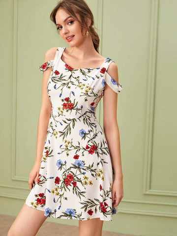 Sleeveless Cold Shoulder Floral Print Dress