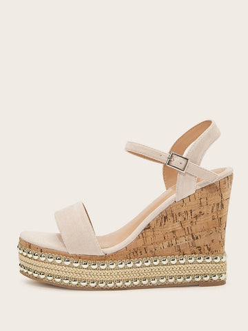 High Heel Two Part Studded Espadrille Wedges Sandals
