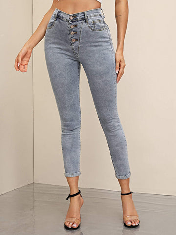 Grey High Waist Button Front Cuffed Hem Skinny Jeans