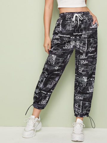 High Waist Random Print Drawstring Waist Sweatpants