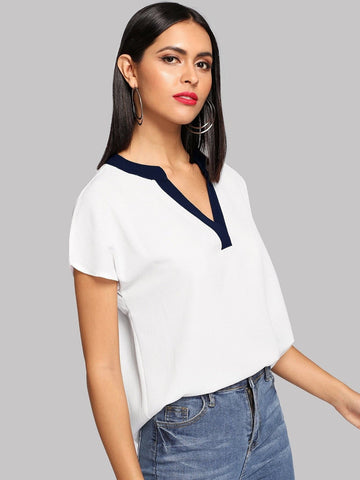 White Cap Sleeve V-Neck High Low Hem Top