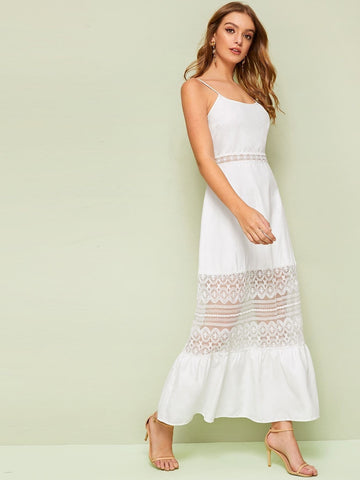 White Sleeveless Spaghetti Strap Embroidered Mesh Insert Flippy Hem Maxi Slip Dress