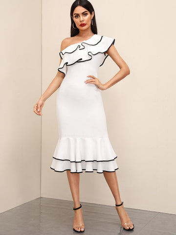 White One Shoulder Cap Sleeve Asymmetrical Neck Ruffle Layered Hem Dress