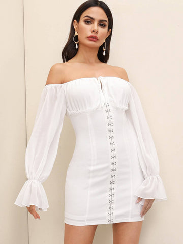 White Off Shoulder Flounce Sleeve Tie Front Skinny Mini Dress