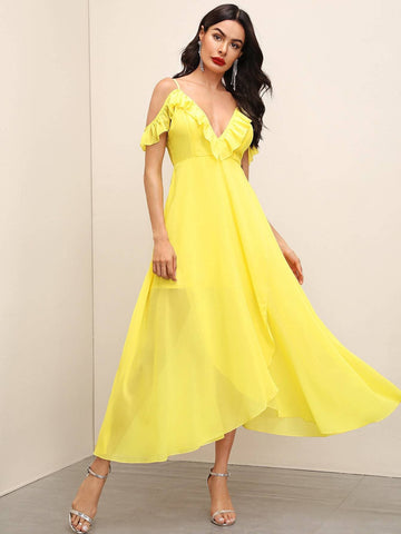 Bright V-Neck Spaghetti Strap Yellow Asymmetrical Hem Cold Shoulder Ruffle Trim Dress