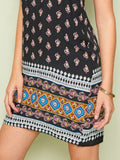 Spaghetti Strap Sleeveless Tribal Print Slip Short Dress