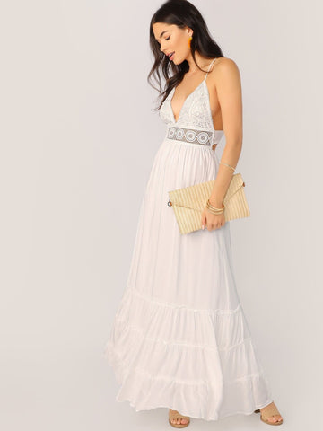 White V-Neck Sleeveless Crisscross Tie Back Lace Bodice Frill Trim Halter Dress