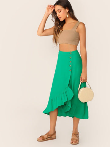 Green Mid Waist Buttoned Front Ruffle Trim Asymmetrical Hem Skirt
