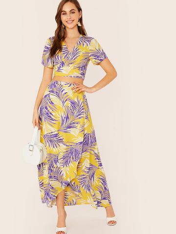 V-Neck Short Sleeve Tropical Print Tie Back Crop Top & Wrap Skirt Set