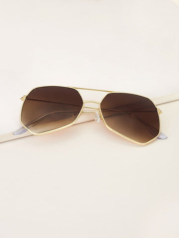 Brown Metal Frame Top Bar Sunglasses