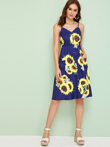 Spaghetti Strap Sleeveless Sunflower Print Shirred Back Cami Dress