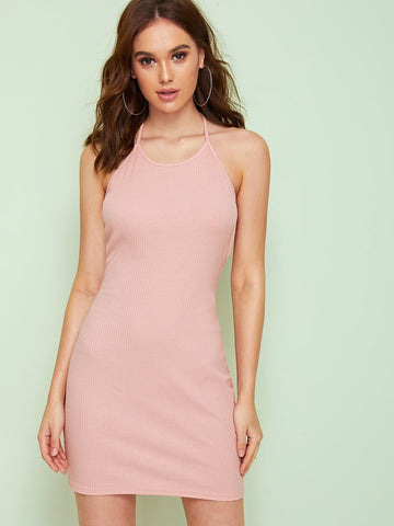 Pink Sleeveless Solid Knit Halter Dress