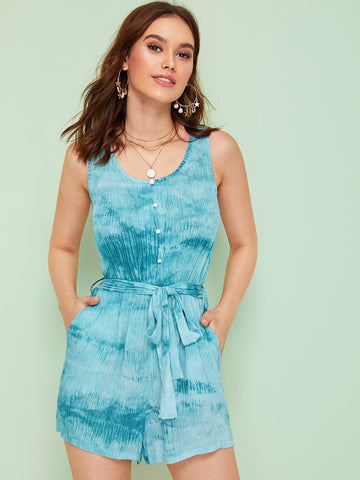 Blue Scoop Neck Belted Self Tie Tie Dye Sleeveless Romper Jumpsuit