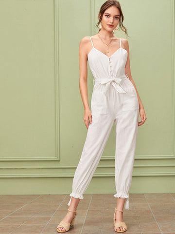 White Sleeveless Spaghetti Strap Tassel Hem Covered Button Belted Cami Jumpsuit