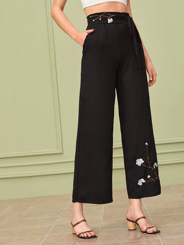 Black High Waist Floral Embroidery Wide Leg Belted Pants