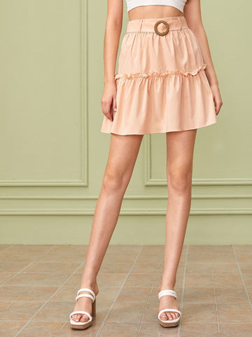 Pink High Waist Self Tie Frill Trim Solid Skirt