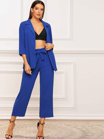 Blue Three Quarter Sleeve Solid Notched Neck Blazer & Belted Pants