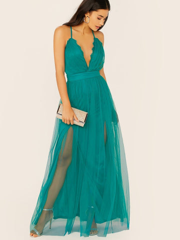 Green Backless Sleeveless Lace Trim V-Neck Tulle Mesh Maxi Dress