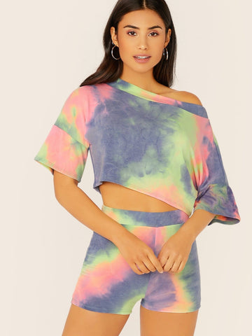 Half Sleeve Tie Dye Crop Sweatshirt And Sweatshorts Set