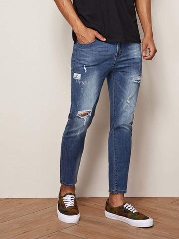 Blue Button Waist Ripped Washed Jeans