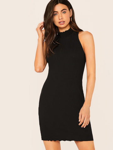 Black Cap Sleeve Stand Collar Lettuce Edge Rib-knit Tank Bodycon Dress