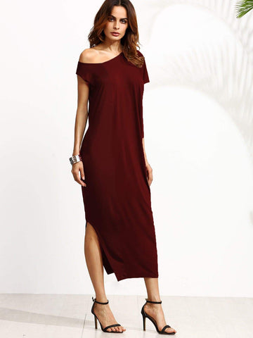 Burgundy Short Sleeve Solid Oblique Neck Split Side Dress