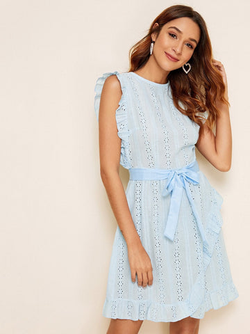 Blue Round Neck Sleeveless Eyelet Embroidery Ruffle Trim Belted Dress