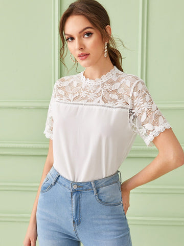 White Stand Collar Short Sleeve Solid Scallop Trim Lace Insert Zip Back Top