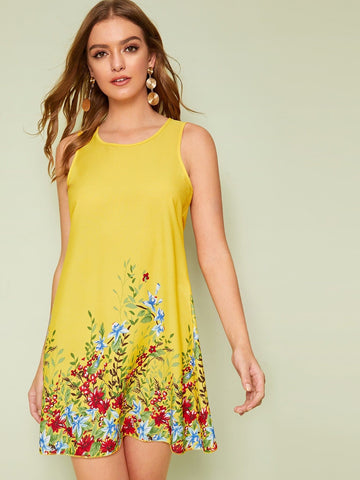 Yellow Round Neck Sleeveless Floral Print Keyhole Back Dress