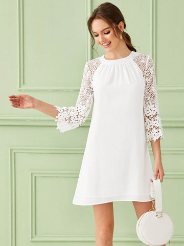White Round Neck Three Quarter Sleeve Solid Guipure Lace Insert Zip Back Dress