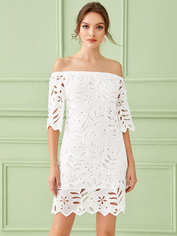 White Cut Out Half Sleeve Solid Off Shoulder Guipure Lace Dress