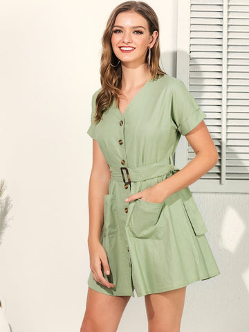 Green V-Neck Button Front Dual Pocket Belted Dress