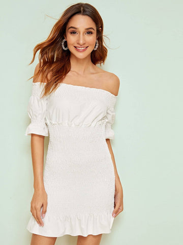 White Short Sleeve Shirred Off Shoulder Solid Dress
