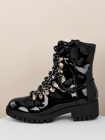 Lace Up Snake Trim Lug Sole Military Patent Boots
