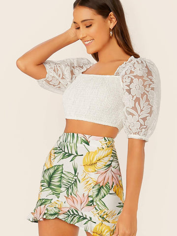 White Square Neck Mesh Sleeve Shirred Slim Fit Crop Top
