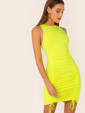 Neon Yellow Sleeveless Round Neck Drawstring Ruched Detail Bodycon Dress