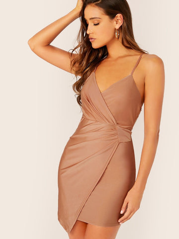 Spaghetti Strap Sleeveless Solid Asymmetrical Wrap Slip Dress