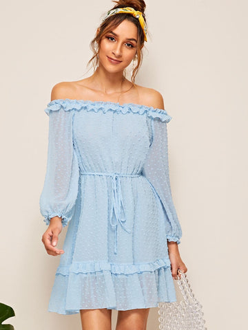 Pastel Blue Long Sleeve Off Shoulder Frill Trim Swiss Dot Dress