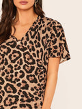 V-Neck Short Sleeve Leopard Print Dress