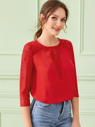 Red Round Neck Lace Insert Raglan Sleeve Top