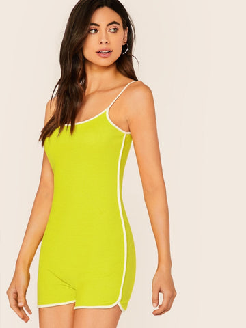 Bright Neon Lime Green Sleeveless Contrast Binding Rib-knit Slip Romper Jumpsuit