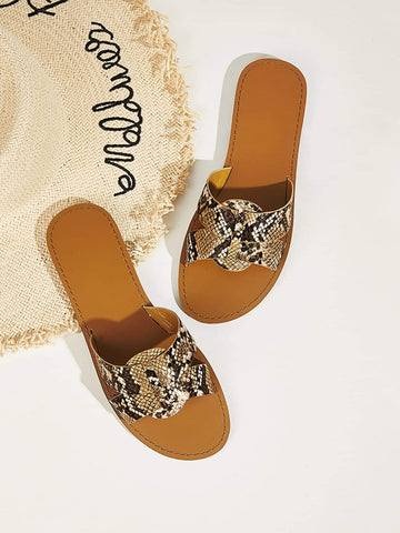 Open Toe Snakeskin Flat Sliders Slippers