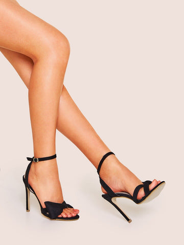 Black Bow Decor Ankle Strap Stiletto Heels