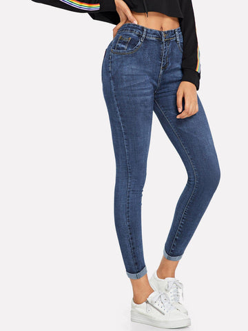 Navy Blue Straight Leg Dark Wash Cuffed Hem Skinny Jeans