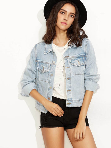 Blue Single Breasted Bleach Wash Denim Jacket