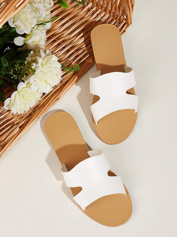 Open Toe Cut Out Flat Sliders Slippers